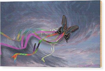 Runaway Kite Wood Print by Cheri Doyle