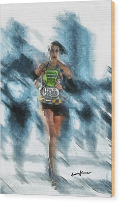 Runner Wood Print by Anthony Caruso