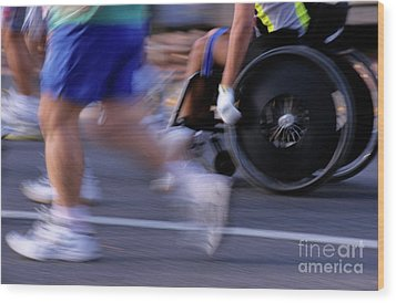 Runners And Disabled People In Wheelchairs Racing Together Wood Print by Sami Sarkis