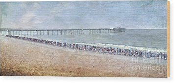 Wood Print featuring the photograph Runners On The Beach Panorama by David Zanzinger