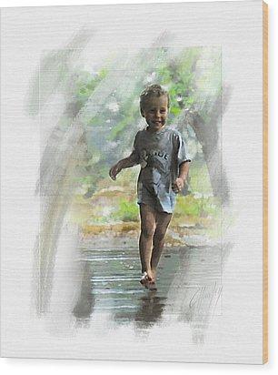 Runnin' In The Rain Wood Print by Cliff Hawley