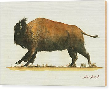 Running American Buffalo Wood Print by Juan  Bosco