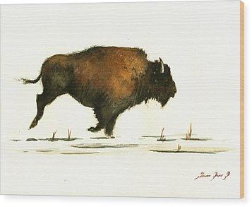 Running Buffalo Wood Print by Juan  Bosco