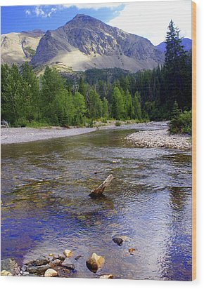 Running Eagle Creek Glacier National Park Wood Print by Marty Koch