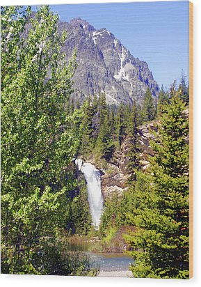 Running Eagle Falls Glacier National Park Wood Print by Marty Koch