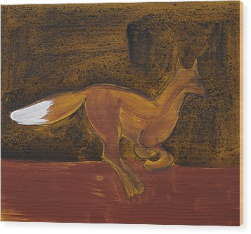 Running Fox In Iron Oxide And Lime Wood Print by Sophy White