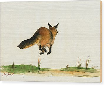 Running Fox Painting Wood Print by Juan  Bosco