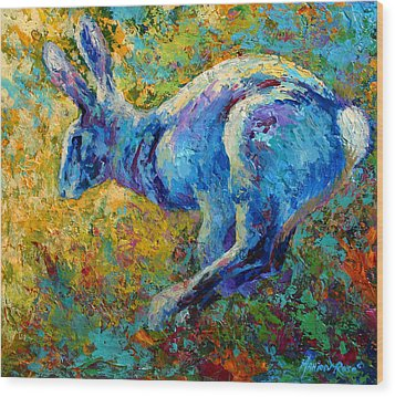 Running Hare Wood Print by Marion Rose