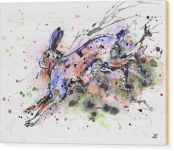 Running Hare Wood Print by Zaira Dzhaubaeva