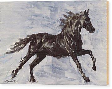 Running Horse Wood Print by Richard De Wolfe