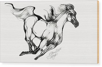 Running Horse Wood Print by Stacey Mayer