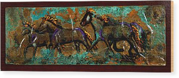 Running Horses Wood Print by Laurie Tietjen