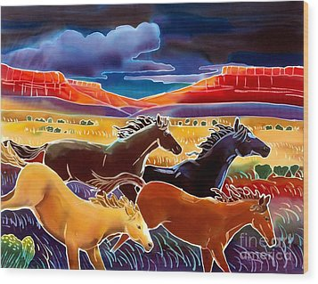 Running The Open Range Wood Print by Harriet Peck Taylor