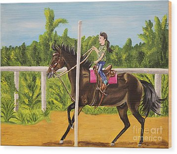 Running The Poles Wood Print by Sheri LaBarr