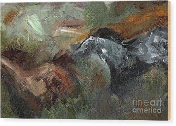 Running Through  Sage Wood Print by Frances Marino