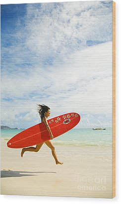 Running With Surfboard Wood Print by Dana Edmunds - Printscapes