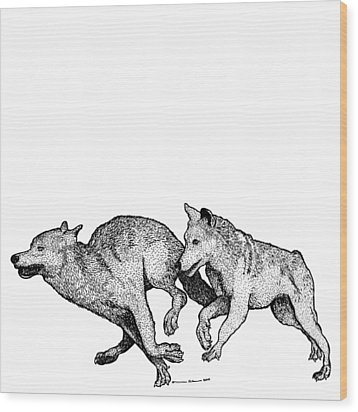 Running Wolves Wood Print by Karl Addison