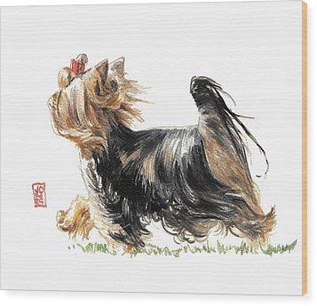 Running Yorkie Wood Print by Debra Jones