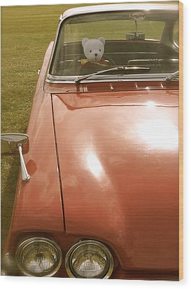 Rupert Bear Out For A Drive Wood Print by John Colley