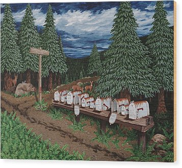 Wood Print featuring the painting Rural Delivery by Katherine Young-Beck