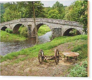 Rural France With Old Stone Arched Bridge Wood Print by Menega Sabidussi