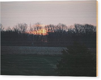 Rural Illinois Sunset Wood Print by C E McConnell