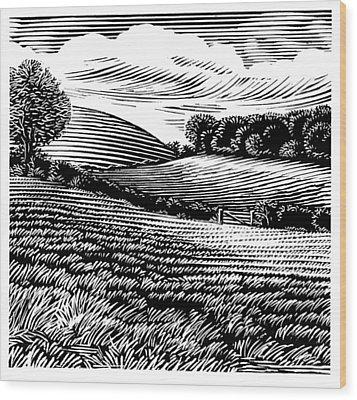Rural Landscape, Woodcut Wood Print by Gary Hincks