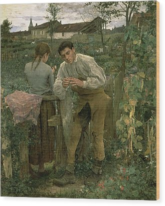 Rural Love Wood Print by Jules Bastien Lepage