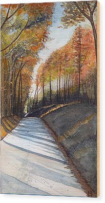 Rural Route In Autumn Wood Print