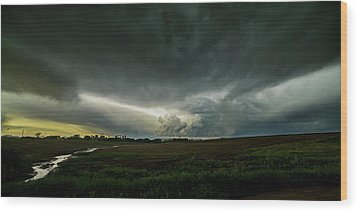 Rural Spring Storm Over Chester Nebraska Wood Print