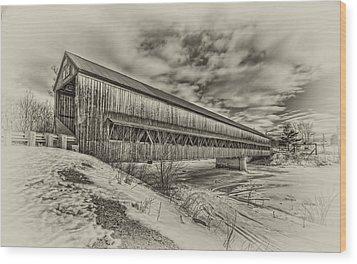 Rusagonish Covered Bridge Wood Print by Jason Bennett