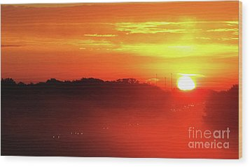 Rush Hour Begins At Sunrise I 94 To Madison Wisconsin Wood Print