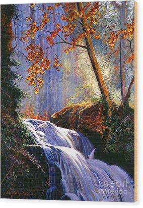 Rushing Waters Wood Print by David Lloyd Glover
