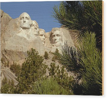 Rushmore Pine Needles Wood Print by Mike Oistad