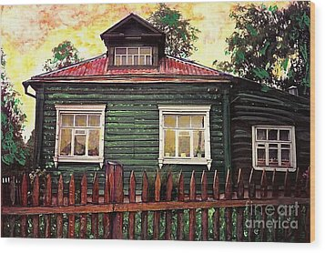 Russian House 2 Wood Print by Sarah Loft