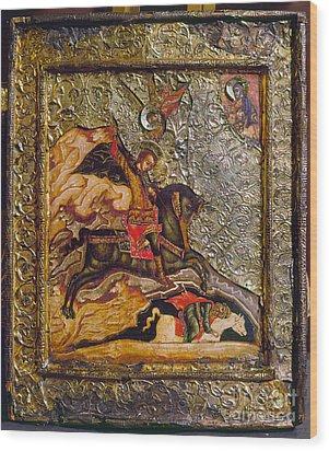Russian Icon: Demetrius Wood Print by Granger