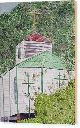 Russian Orthodox In Hoonah Wood Print by Larry Wright