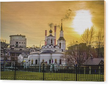 Wood Print featuring the photograph Russian Ortodox Church In Moscow, Russia by Alexey Stiop