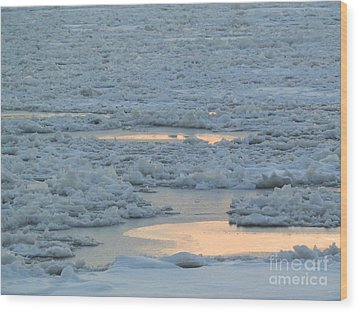Russian Waterway Frozen Over Wood Print