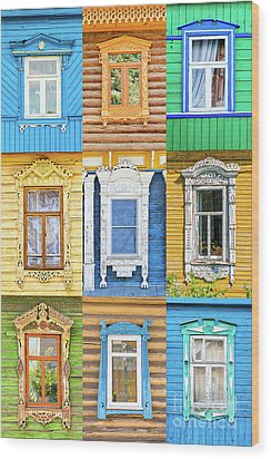 Wood Print featuring the photograph Russian Windows by Delphimages Photo Creations