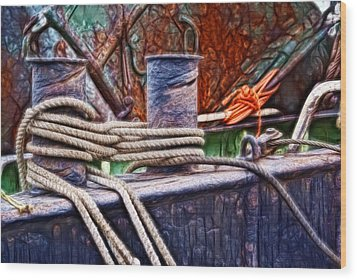 Wood Print featuring the photograph Rust And Rope by Cameron Wood