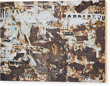 Rust And Torn Paper Posters Wood Print by John Williams