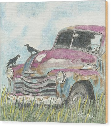 Wood Print featuring the drawing Rust In Peace by Arlene Crafton