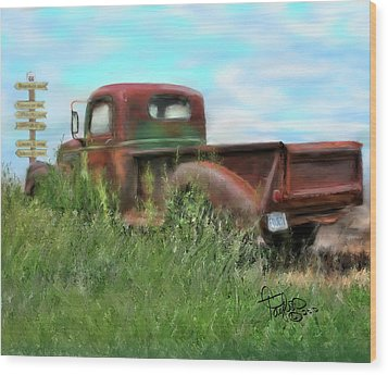 Rusted Not Retired Wood Print by Colleen Taylor
