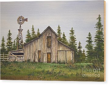Wood Print featuring the painting Rustic Barn by James Williamson