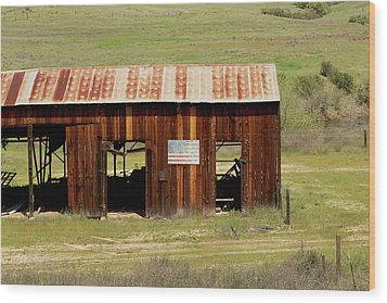 Wood Print featuring the photograph Rustic Barn With Flag by Art Block Collections