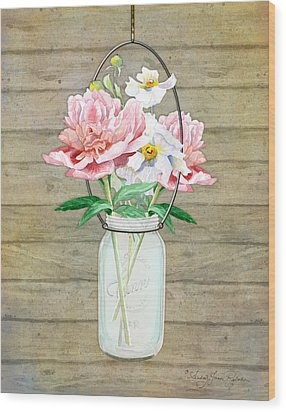 Rustic Country Peony N Poppy Mason Jar Bouquet On Wooden Fence Wood Print