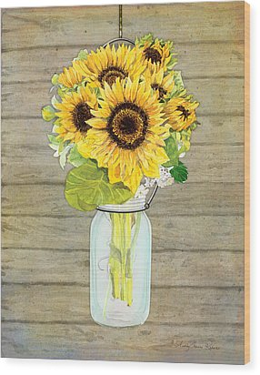 Rustic Country Sunflowers In Mason Jar Wood Print