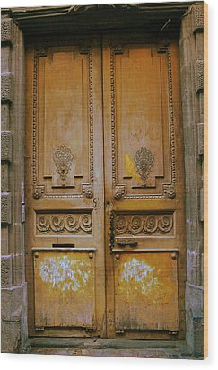 Rustic French Door Wood Print by Georgia Fowler