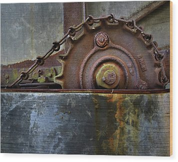 Wood Print featuring the photograph Rustic Gear And Chain by David and Carol Kelly